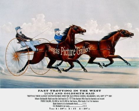 Fine art Horseracing Print of the 1800's Racing and Trotting of Lucy and Goldsmith Maid Trotting their closely contested Race over the Old Spring Course, Milwaukee, Wis, Sept 5th 1881